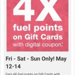 Kroger 4X Fuel Points May 12, 13 & 14 on Gift Card Purchases