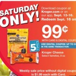 Kroger Cheese .99 ea 9/16 SAT with E coupon! Limit 5!