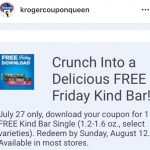 Kroger Friday Free 7/27! Free Kind Bars!!!